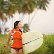 A Woman Carries A Surfboard To The Beach Art Print