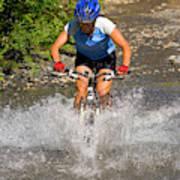 A Woman Mountain Bikes Along Trail 401 Art Print
