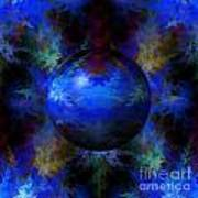 Abstract Blue Globe Art Print