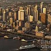 Aerial View Of Seattle Skyline Along Waterfront Art Print