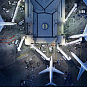 Airliners At  Gates And Control Tower Art Print