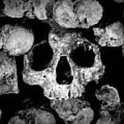 Altered Image Of Skulls And Bones In The Catacombs Of Paris France Art Print