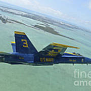 An Fa-18 Hornet Of The Blue Angels Art Print