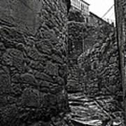 Ancient Street In Tui Bw Art Print