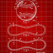 Baseball Patent 1927 - Red Art Print