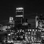 Beautiful Black And White Image Of London City At Night With Lov Art Print