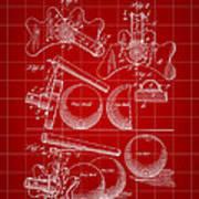 Billiard Bridge Patent 1910 - Red Art Print