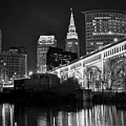 Black And White Cleveland Iconic Scene Art Print