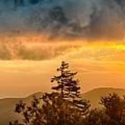 Blue Ridge Parkway Autumn Sunset Over Appalachian Mountains  Art Print
