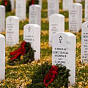Christmas Wreaths Laid At The Arlington Cemetery Art Print