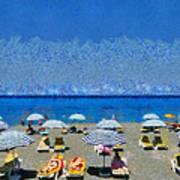 Beach At The City Of Rhodes Art Print