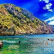 Cliffside Coastline On Corfu Art Print