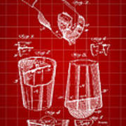 Cocktail Mixer And Strainer Patent 1902 - Red Art Print