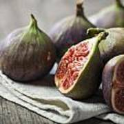 Delicious Figs On Wooden Background Art Print