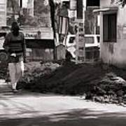 Digging A Ditch At The Side Of A Road In Roorkee Art Print
