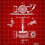 Edison Phonograph Patent 1878 - Red Art Print