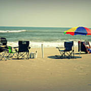 3 Empty Beach Chairs Art Print