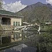 Fallen Tree In Water Pool Inside The Shalimar Garden In Srinagar Art Print