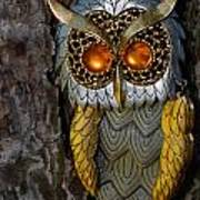 Faux Owl With Golden Eyes Art Print