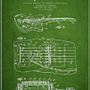 Fender Floating Tremolo Patent Drawing From 1961 - Green Art Print by Aged Pixel