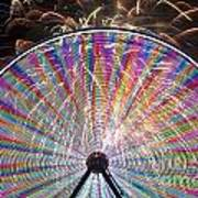 Ferris Wheel And Fireworks Art Print