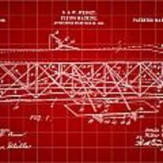 Flying Machine Patent 1903 - Red Art Print