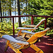 Forest Cottage Deck And Chairs Art Print