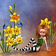 Forest Fairy In The Garden Art Print