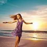 Girl Jumping And Dancing On Beautiful Beach. Art Print