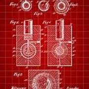 Golf Ball Patent 1902 - Red Art Print