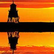 Groyne Lighthouse At Sunrise Art Print