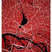 Hamburg Street Map - Hamburg Germany Road Map Art On Colored Bac Art Print