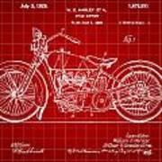 Harley Davidson Motorcycle Patent 1925 - Red Art Print