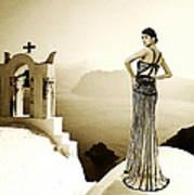 High Fashion Santorini Art Print