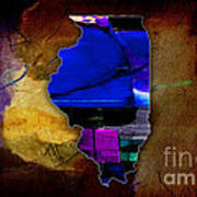 Illinois Map Watercolor Art Print