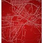 Kabul Street Map - Kabul Afghanistan Road Map Art On Colored Bac Art Print