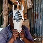 Kenya. December 10th. A Man Carving Figures In Wood. Art Print