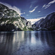 Lake Braies And Dolomite Alps, Northern Art Print