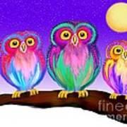 3 Little Owls In The Moonlight Art Print