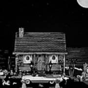 Log Cabin Scene With The Classic Old Vintage 1959 Dodge Royal Convertible In Black And White Art Print by Leslie Crotty