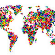 Love Hearts Map Of The World Map Art Print by Michael Tompsett