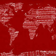 Map Of The World Map From Old Sheet Music Art Print by Michael Tompsett