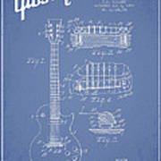 Mccarty Gibson Les Paul Guitar Patent Drawing From 1955 - Light Blue Art Print by Aged Pixel