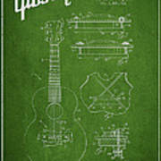 Mccarty Gibson Stringed Instrument Patent Drawing From 1969 - Green Art Print
