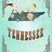 Modern Vintage Tennessee State Map  Art Print