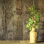 Monet Style Digital Painting Retro Style Still Life Of Dried Flowers In Vase Against Worn Woo Art Print