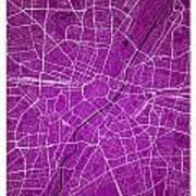 Munich Street Map - Munich Germany Road Map Art On Colored Backg Art Print
