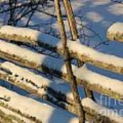 Old Swedish Wooden Fence In Winter Art Print