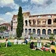 Outside Colosseum In Rome Art Print