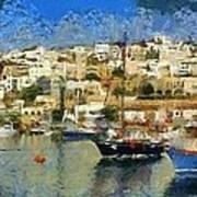 Panoramic Painting Of Mikrolimano Port Art Print